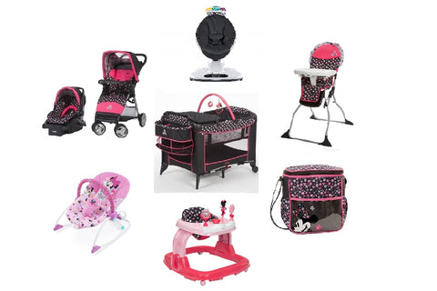 Minnie Mash Up Complete Baby Gear Bundle with High Chair,Bouncer, Swing & Diaper Bag