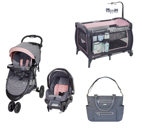 Pink Baby Gear Bundle, Stroller Travel System, Play Yard and Diaper Bag