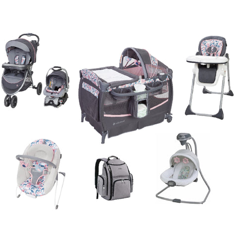 Pink & Blue Baby Gear Bundle, Stroller Travel System, Play Yard, High Chair,Swing & Diaper Bag