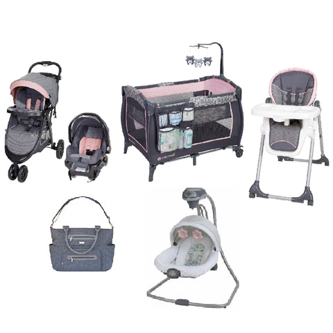 Pink Baby Gear Bundle, Stroller Travel System, Play Yard, High Chair,Swing & Diaper Bag
