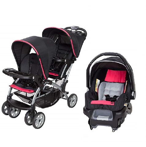 Red Green Or Pink Double Sit N Stand Twin Stroller Travel System