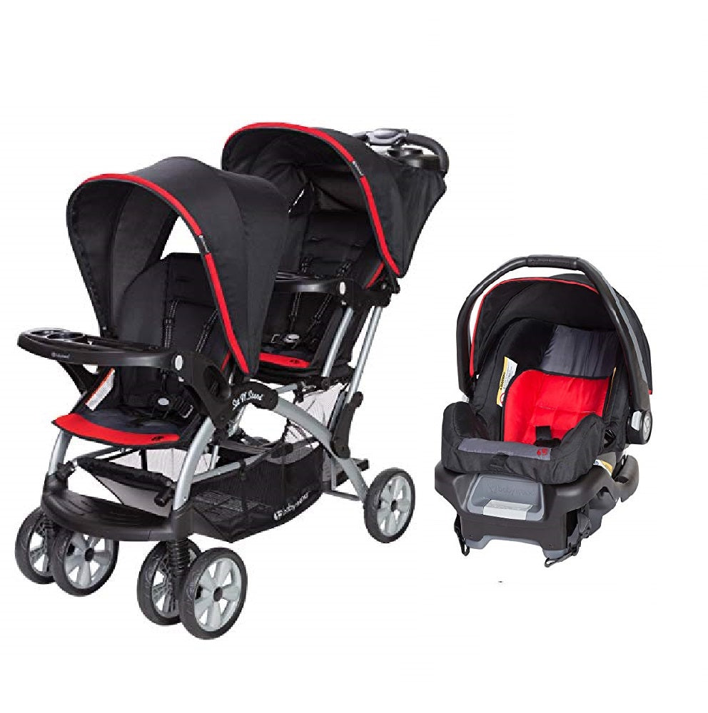Red Green Or Pink Double Sit N Stand Twin Stroller Travel System Bundle With Car Seat Combo