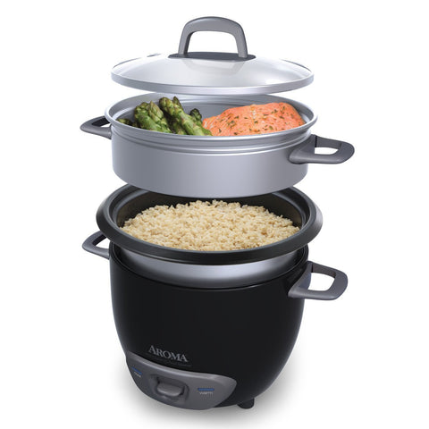 Black (Cooked)  (3-Cup UNCOOKED) Pot Style Rice Cooker and Food Steamer