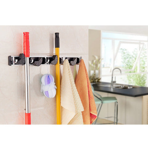 ... Wall Mounted Broom Mop Holder Organizer Garage Storage Hooks 4 Position  5 Hooks For Shelving Ideas ...