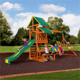 Toddlers Playground Wood Swing Set Outdoor Play Slide Kids Backyard Swingset Playset