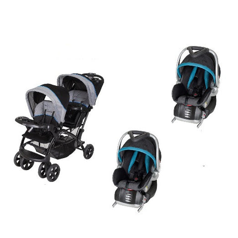 Baby Trend Double Sit N Stand Twin Stroller Travel System with 2 Infant Car Seats, Millennium Blue