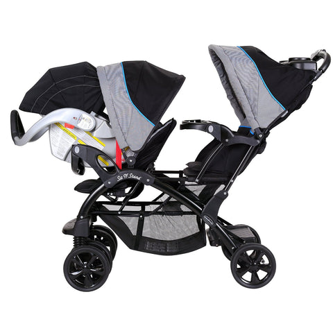 Baby Trent Double Sit N Stand Twin Stroller Travel System With 2 Infant Car Seats