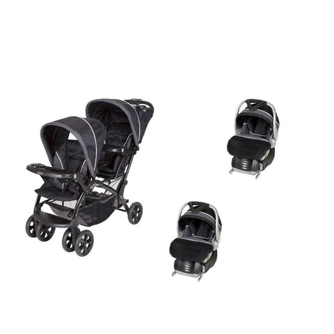 Black Baby, Infant Double Twin Sit N Stand Stroller Travel System with 2 Car Seats