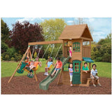 Toddlers Outdoor Playground Wood Swing Set Play Slide Kids Backyard Swingset Playset