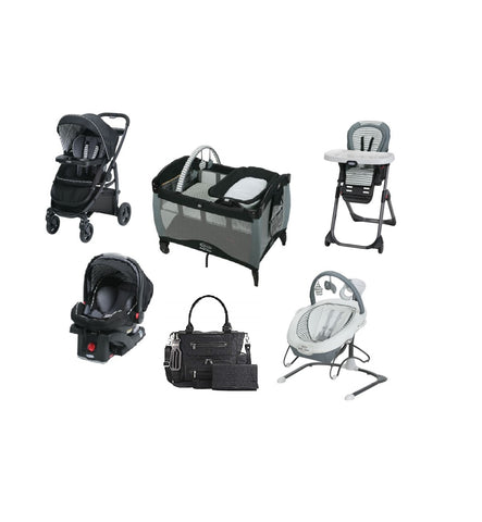 Graco Black Striped Complete Baby Gear Bundle,Stroller Travel System,Swing & Diaper Bag