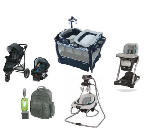 Graco Dark Blue Complete Baby Gear Bundle,Stroller Travel System with Swing