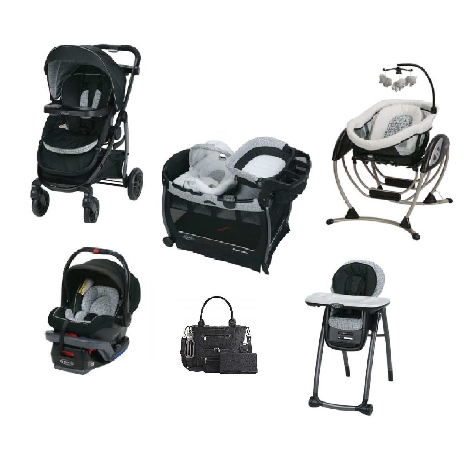 Graco Black Complete Baby Gear Bundle Stroller Travel System Play