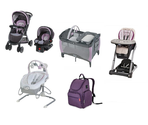 Graco Purple Baby Gear Bundle,Stroller Travel System,Play Yard,Swing,High Chair & Diaper Bag