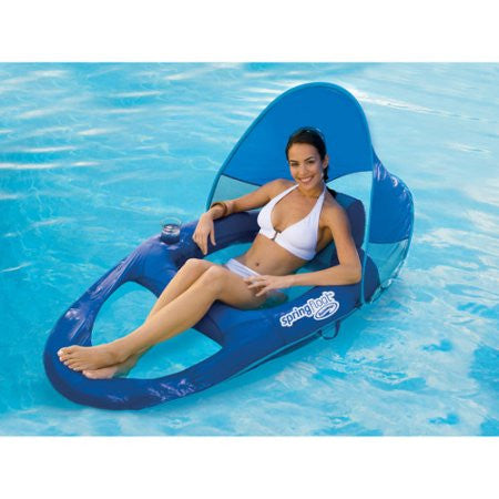 Inflatable Oversized Swimming Pool Water Recliner Lounge Chair with Sun Shade Canopy n Cup Holder
