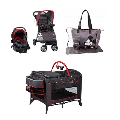 Disney Mickey Indigo Baby Gear Bundle Stroller Travel System Play Yard Collection Set