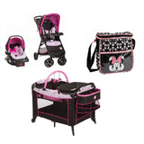 Disney Minnie Baby Bundle Baby Gear Bundle Collection,Stroller Travel System, Play Yard