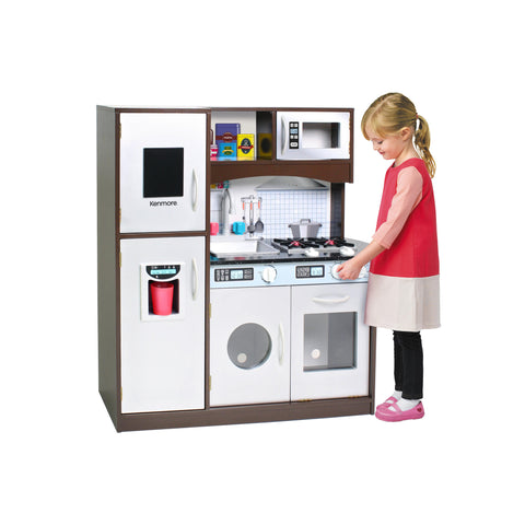 Kids, Toddlers, Interactive Pretend Play Toy Refrigerator & Kitchen with Real Ice Maker Set