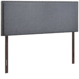 Modern Queen Size Cafe Beige Upholstered Padded Fabric Nailhead Trim Headboard
