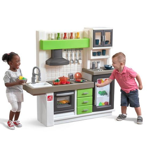 Kids Step2 Pretend Play Complete Euro Interactive Toy Kitchen Playset with Lights & Sounds