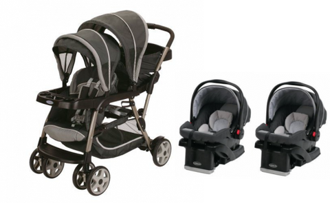 Graco Glacier Baby Infant Double Twin Stroller Travel System With 2 Infant Car Seats