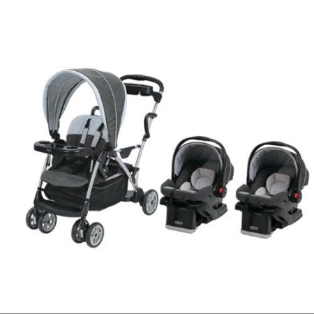 Graco Glacier Baby Infant Double Twin Stroller Travel System With 2 Car Seats