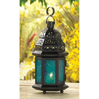 Blue Glass Moroccan Lantern - Yolis Beauty Barn