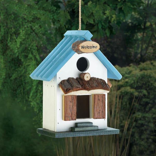 Blue Rooftop Birdhouse - Yolis Beauty Barn