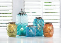 Dominion Teal Glass Candle Holder