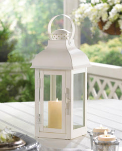Gable Medium White Lantern - Yolis Beauty Barn