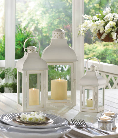 Gable Large White Lantern - Yolis Beauty Barn