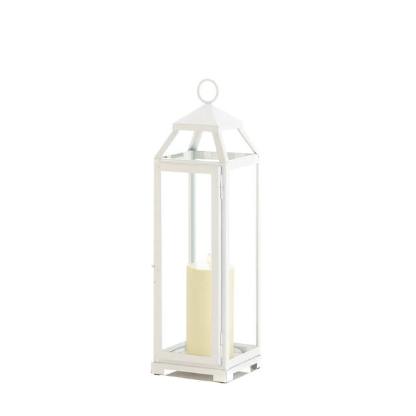 Large Country White Open Lantern
