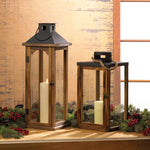 Large Simple Metal Top Wooden Lantern - Yolis Beauty Barn