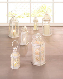 Large White Moroccan Inspiration Lantern - Yolis Beauty Barn