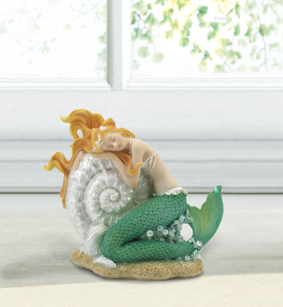 Mermaid Sleeping on Seashell Figurine