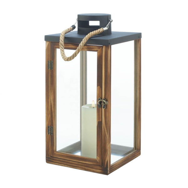 Metal Top Wooden Lantern - Yolis Beauty Barn
