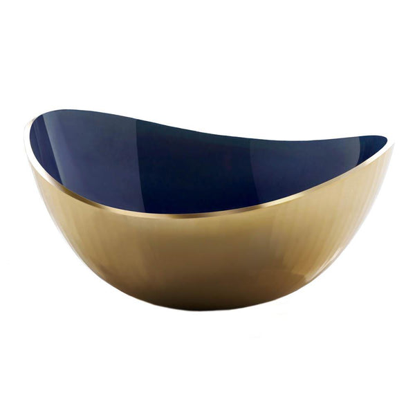 Modern Blue and Gold Oval Bowl