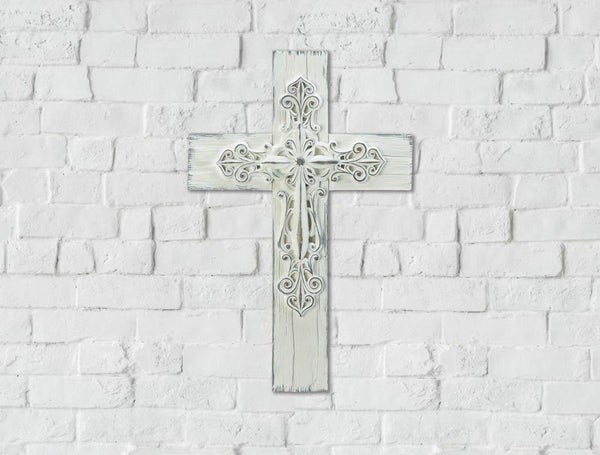 Ornate Whitewashed Cross
