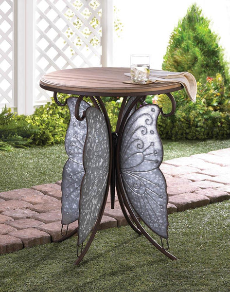 Rustic Butterfly Accent Table - Yolis Beauty Barn