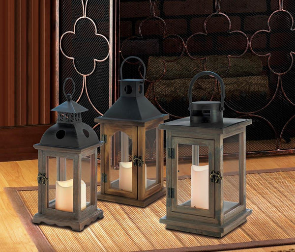 Rustic Lantern With Led Candle - Yolis Beauty Barn