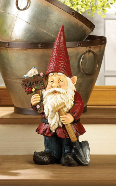 Welcome Gnome Solar Garden Decoration
