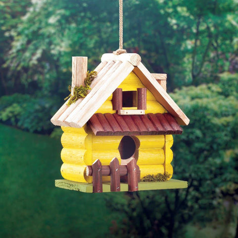 Yellow Log Home Birdhouse - Yolis Beauty Barn