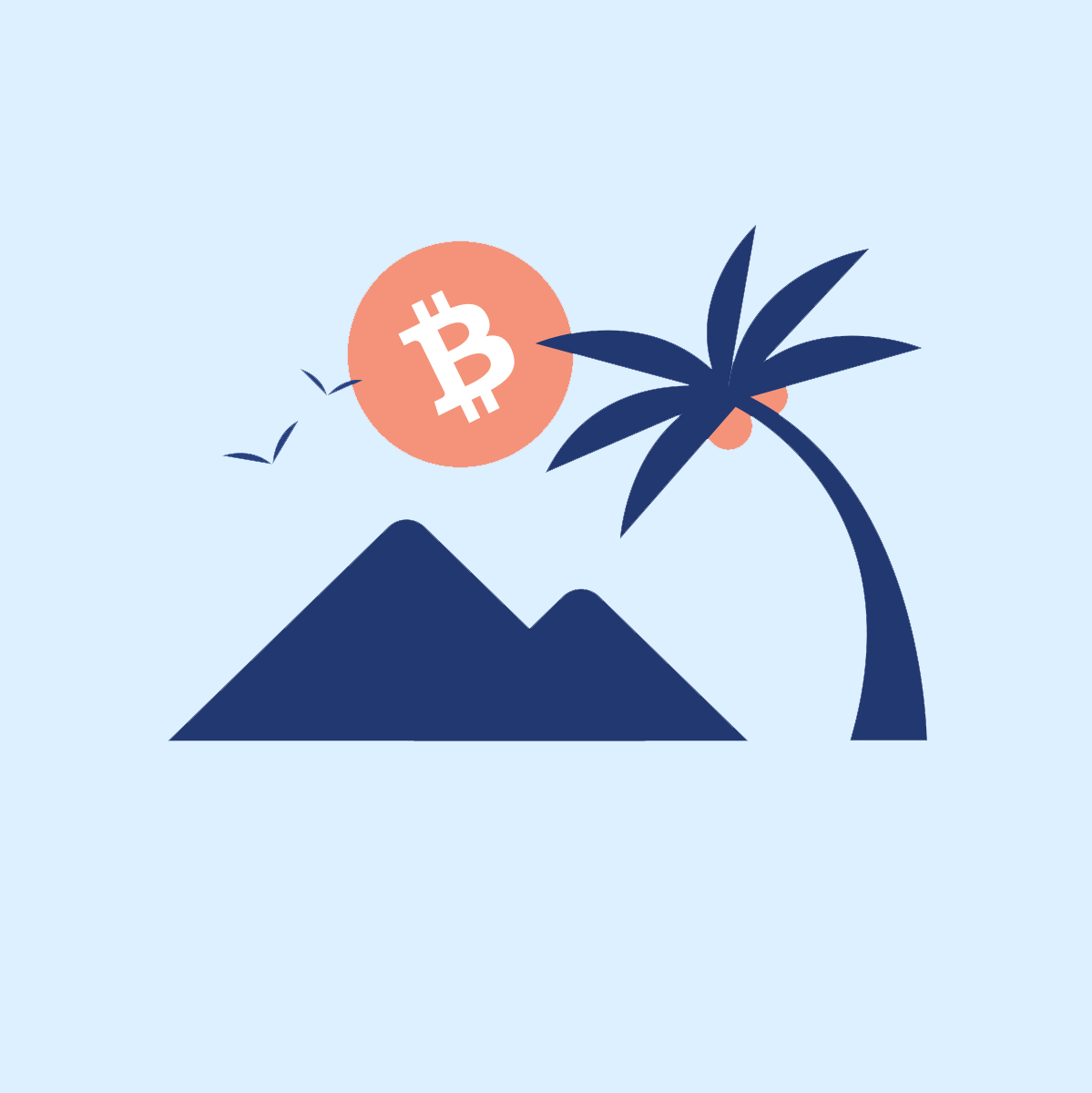 Bitcoin Palm Tee - Blue