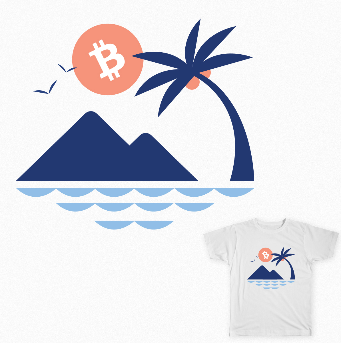 Bitcoin Palm Tee - White