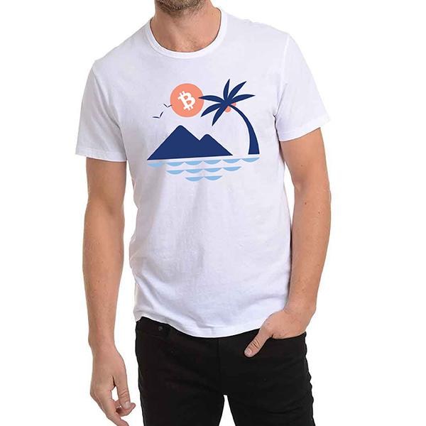 Bitcoin Palm Tee - White - Buy Products with Cryptocurrency