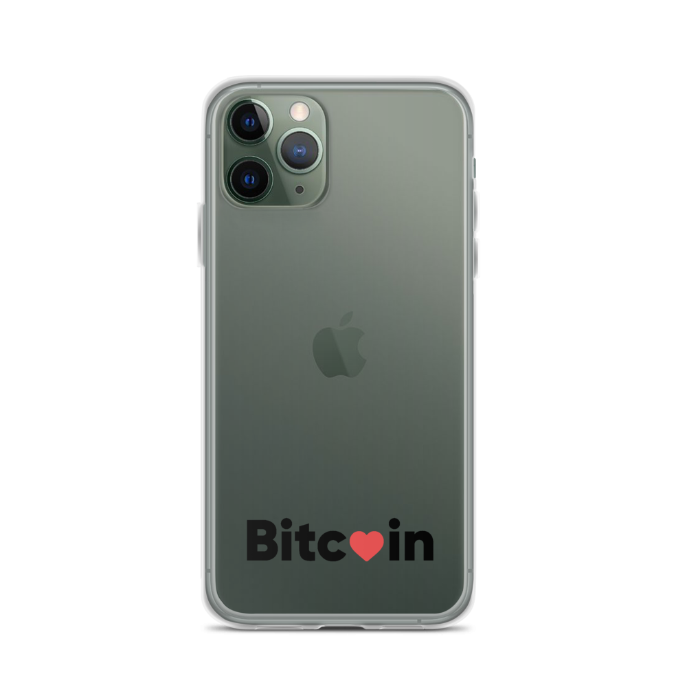 Bitcoin x LOVE iPhone Case, clear/black - Buy Products with Cryptocurrency