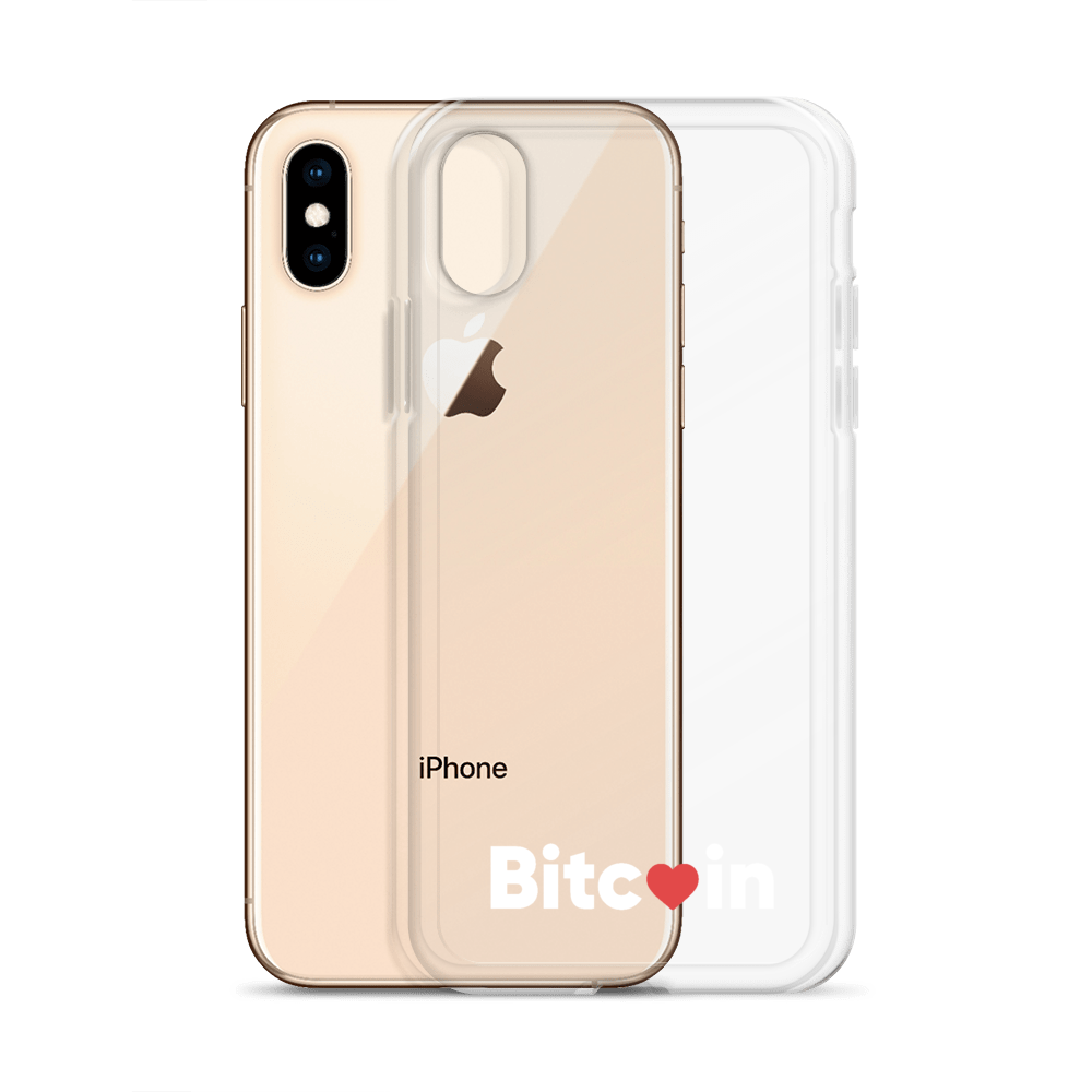 Bitcoin x LOVE iPhone Case, clear/white - Buy Products with Cryptocurrency