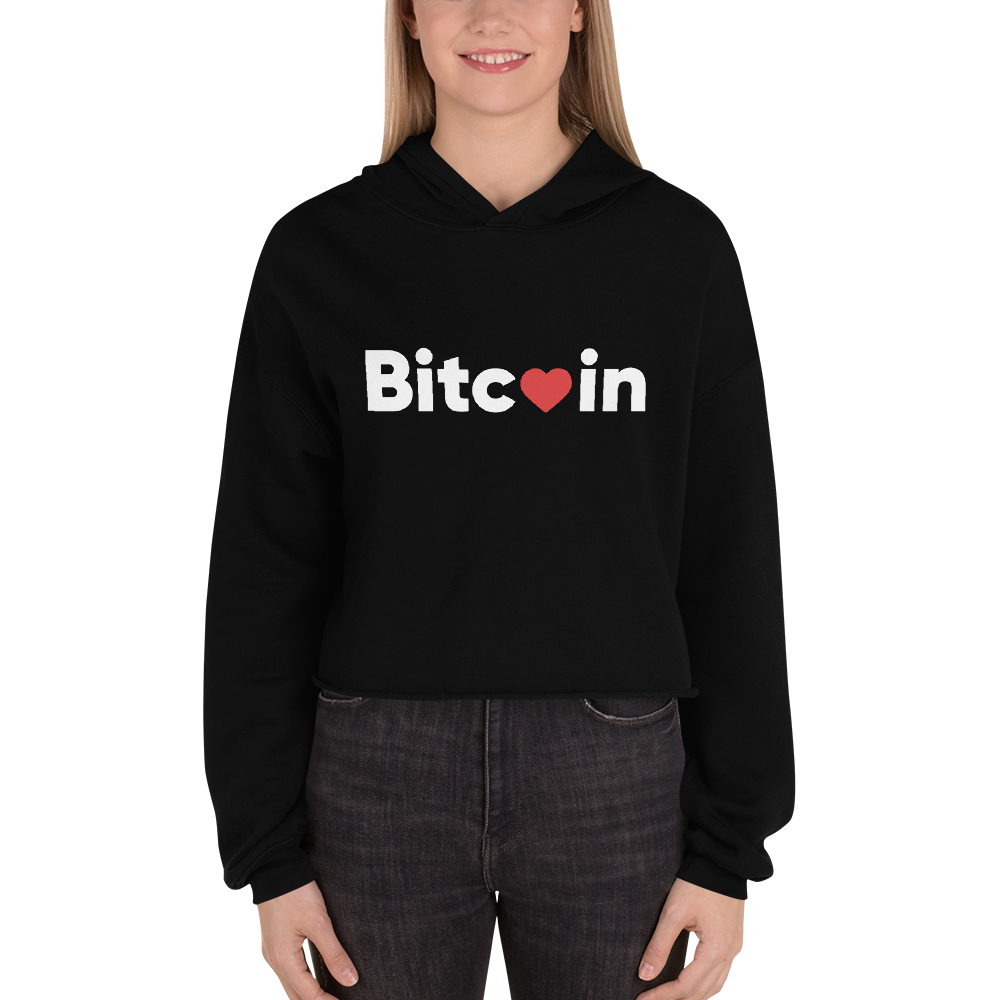 Bitcoin x LOVE Women's Crop Hoodie - Buy Products with Cryptocurrency