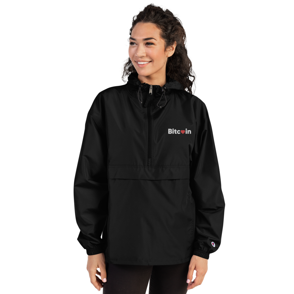 Bitcoin x LOVE Embroidered Champion Packable Jacket - Buy Products with Cryptocurrency