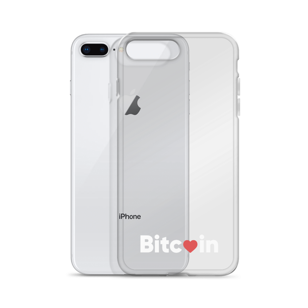 Bitcoin x LOVE iPhone Case, clear/white