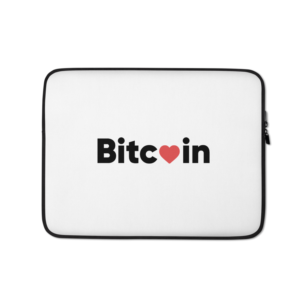 Bitcoin x LOVE Laptop Sleeve, white - Buy Products with Cryptocurrency
